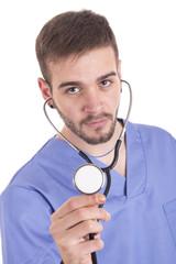 Handsome medical doctor using stethoscope