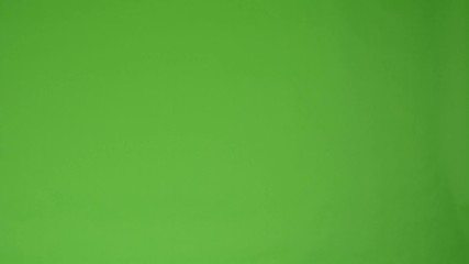 asian woman show up and smiles - green screen