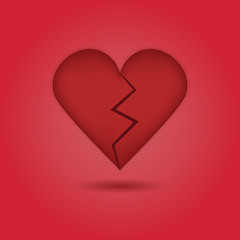 Red abstract broken heart icon on red gradient background