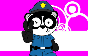 panda bear cop cartoon background card