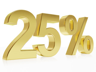 Photorealistic golden rendering of a symbol for 25 % discount