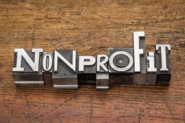nonprofit word in metal type