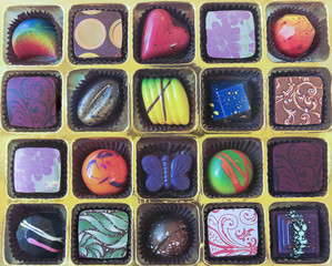 A Gold Tray of Hand Crafted Chocolates