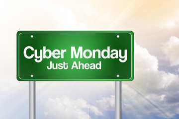 Cyber Monday Just Ahead Green Road Sign, Business Concept