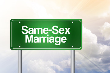 Same-Sex Marriage Green Road Sign Concept