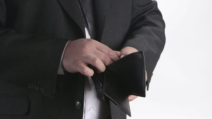 Business person took wallet out of his pocket