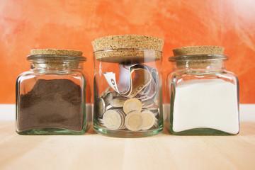 money in crystal jar
