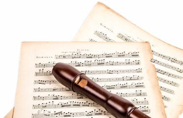 Flöte mit Noten