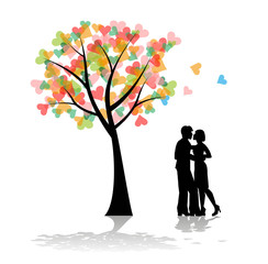 coppia di innamorati e albero con cuori