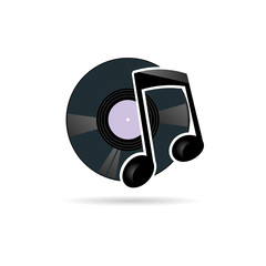 vinyl record with note icon vector illustration