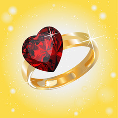 card gold ring ruby heart on Valentine's Day