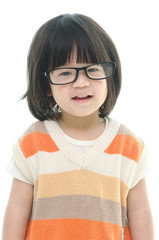 Cute asian baby wearing glasses