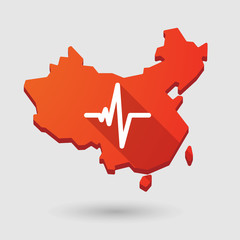 China map icon with a heart beat sign