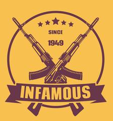 infamous since 1949 emblem vector illustration, eps10