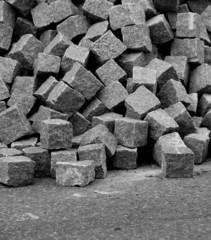 Pile of unused cobblestones