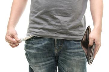 Man with empty pocket