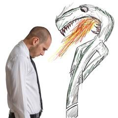Businessman afraid