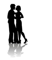 silhouette di coppia di innamorati su sfondo bianco