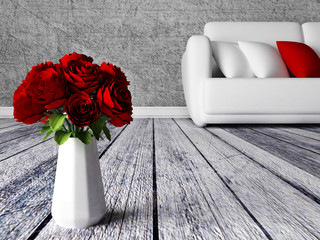 roses in the vase in a room