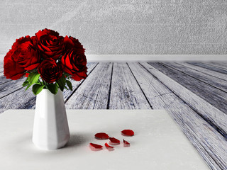 roses in the vase on the carpet
