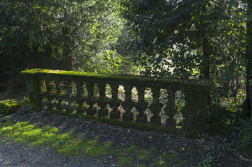 Moss-covered balustrade in the old park.