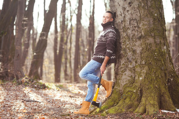 Lumberjack resting in the forest