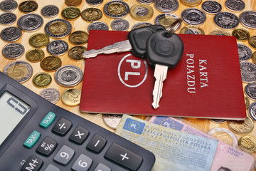 Documents car keys and money