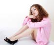 Beautiful woman in pink shirt