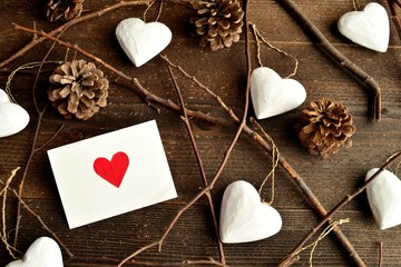Red heart message card with white heart ornament