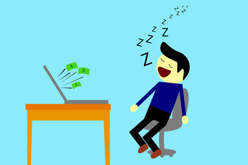 Sleeping Man while Get Earn from Computer