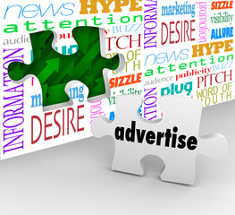 Advertise Word Puzzle Piece Wall Marketing Selling Products Serv