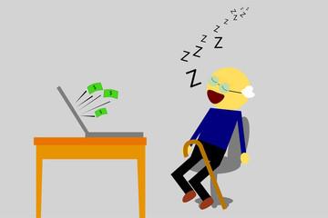 Sleeping old Man, Get Earn from Computer