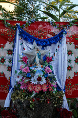 rustic tropical Altar to the virgin from Nicaragua