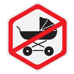 No, baby, carriage, sign, hexagon
