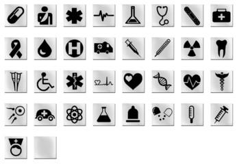 Medizin Icons eckig schwarz weiss