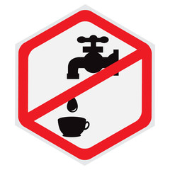 Do, not, drink, water, sign, hexagon