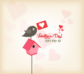 happy valentines day greeting card with birdhouse