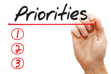 Hand writing Priorities List with red marker, business concept