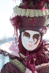 Red masked lady at the Carnival of Venice
