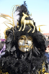 Black and golden mask at the Carnival of Venice