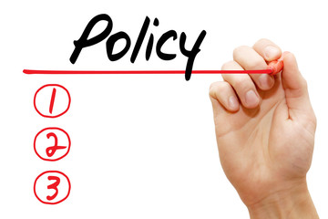 Hand writing Policy List with red marker, business concept