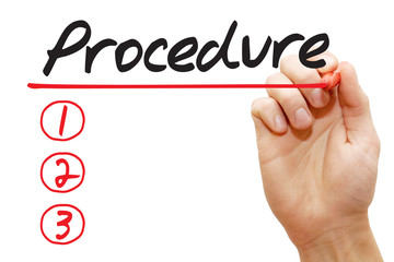 Hand writing Procedure List with red marker, business concept