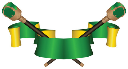 Heraldic ribbon with two scepters