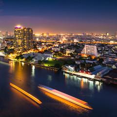 Modern city view of Bangkok cityscape at nighttime,Thailand