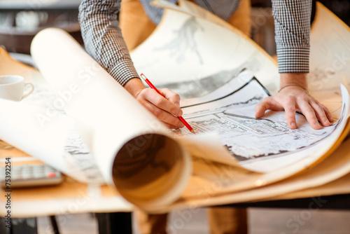 Leinwanddruck Bild Architectural drawings