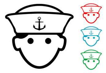 Pictograma icono marinero con varios colores