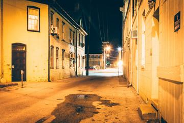 Alley at night, in Hanover, Pennsylvania.