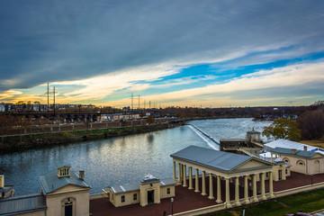 Buildings along the Schuylkill River in Philadelphia, Pennsylvan