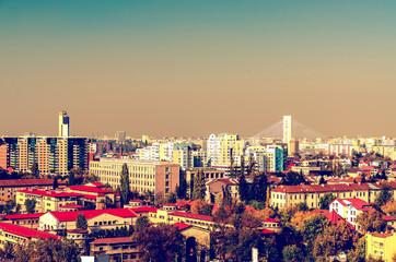 Retro Photo Of Bucharest City Aerial View