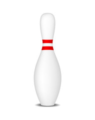 Bowling pin with red stripes